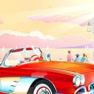 Прогулка веб модели по набережной на красном авто